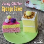 Easy Peasy Glitter Sponge Cakes for Pretend Play